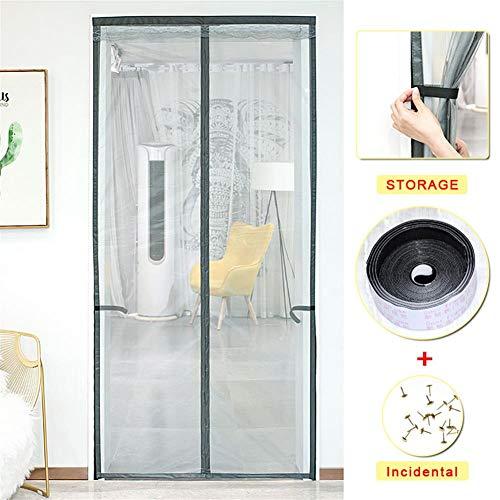 Magnetische Screen Door, Super Fine Mesh Fly Gordijn, Magneten Van boven naar Bodemafdichtingsrubber Snaps wordt automatisch, houdt frisse lucht in en ongedierte Out - geschikt voor thuis Campers,Black,90×210cm(35.5×83