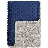 BlueSnail Baby Minky Blanket with Plush Shepra Fleece for Boys and Girls (Navy+Light Gray, 30W x 40L)