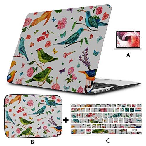 Funda para portátil Coloridos Hermosos pájaros en una Rama Macbook Air Skin Hard Shell Mac Air 11'/ 13' Pro 13'/ 15' / 16'con Funda para portátil para Macbook Versión 2008-2020