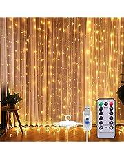 SUNNEST Led-lichtsnoer, lichtgordijn, 300 leds, USB-gordijnverlichting, lichtsnoer, 8 modi, met afstandsbediening, timer, IP68 voor decoratie binnenverlichting (warmwit)
