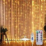 Lichtervorhang Vorhanglichter, Sunnest 300 LED USB Lichterkette Lichterkettenvorhang String Light Kupferlichterkette 8 Lichtmodi mit Fernbedienung Timer für Zimmer Innen und Außen Deko IP68 Warmweiß