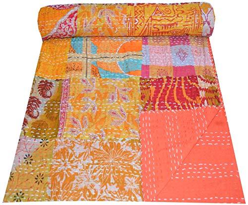 Majisacraft Kantha - Colcha de algodón con parche indio, manta étnica gudari multipatchwork, 152 x 228 cm