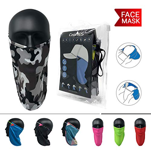 CoolNES UV Face Mask or Neck Sun Shield | 1 Product 2 Uses | Removable Universal Fit Headband + Flap | Cap | Hat | Bike | Ski | Hard Hat Helmets UPF 50+ Patented Multifunctional Headwear