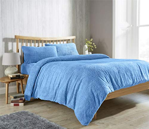 Feathers & Linens TEDDY BEAR FUR SHERPA FLEECE DUVET COVER, FITTED SHEET & PILLOWCASE BEDDING BED LINEN SET (Sky Blue, Pillow Case Pair)