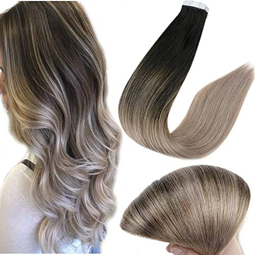 Full Shine 14 Inch Tape Hair Extensions Color1B Off Black Fading to Color18 Ash Blonde Brazilian Remy Real Human Hair 20 Pieces Per Pack 50 Grams