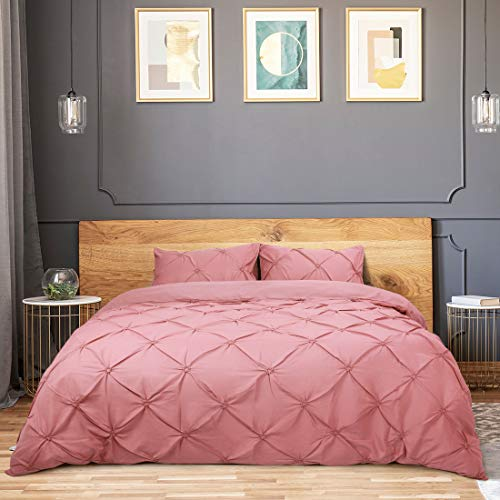 PiccoCasa Duvet Cover Sets 3 Piece Pinch Pleate Pintuck Quilt Bedding Set with Pillowcases Queen Pink
