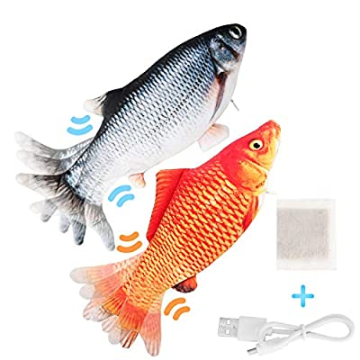 Flippity Fish Cat Toy Moving,Electric Floppy Fish Cat Toy,Dancing Realistic Flopping Fish Cat Interactive Kicker Fish Toy,Wiggle Fish Catnip Toys for Cats, Motion Kitten Toy,USB Charged (2PCS)