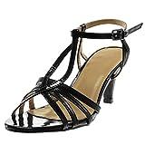 Angkorly - Damen Schuhe Sandalen Pumpe - T-Spange - knöchelriemen - Stiletto - Patent - genarbtem - glänzende Stiletto high Heel 8 cm - Schwarz R12-07 T 39