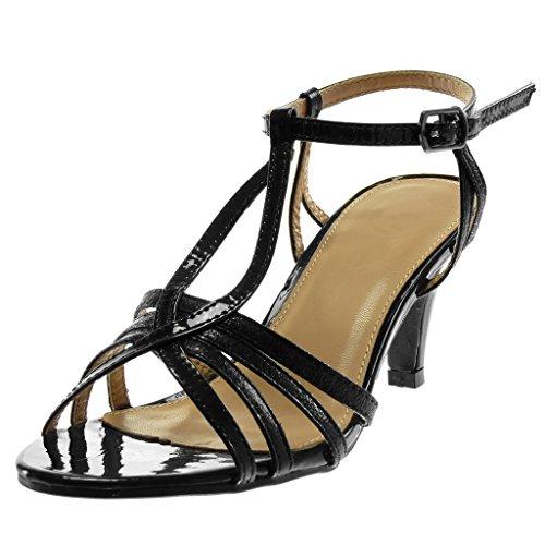 Angkorly - Damskie buty z pompką – szpilki T – paski na kostki – Stiletto – patent – groszkowane – błyszczące szpilki 8 cm, czarny - czarny - 36 EU