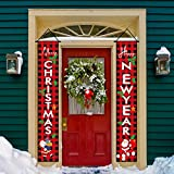 MERRY CHRISTMAS HAPPY NEW YEAR Plaid Porch Signs Christmas Banners Hanging Outdoor Indoor Decor Happy Holidays Banner Welcome Banner Front Door Hanging Sign for Christmas Decorations