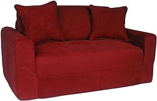 Fun Furnishings Micro Suede Sofa Sleeper with Pillows, Green