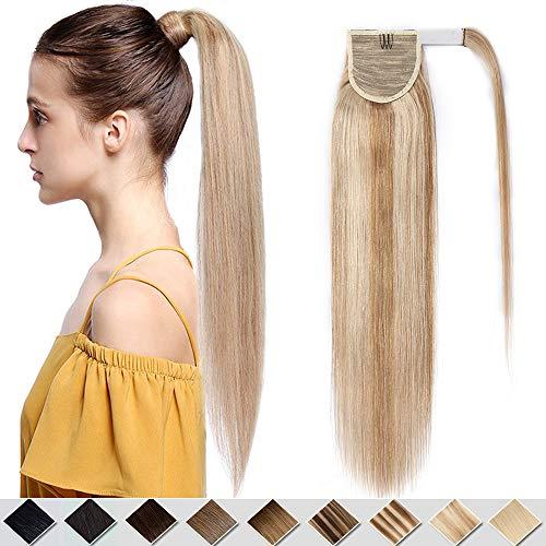 40cm - Extensiones Coleta de Cabello Pelo Natural Humano 80g Remy Human Hair Extension Ponytail Clip - 12P613# Marrón Dorado y Blanqueador Oscuro