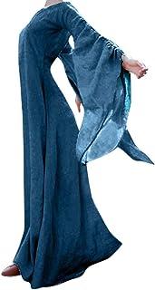 Abito Gonna Vestito Jumpsuit Abito Lungo da Donna con Maniche Lunghe a Maniche Lunghe retrò Gotico Medievale Autunno Inver...