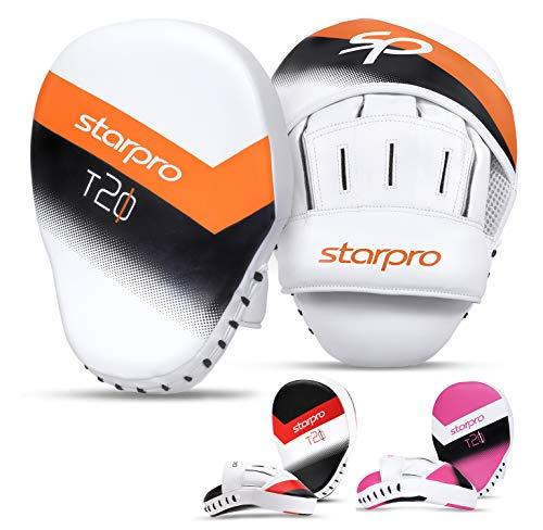 Starpro T20 curvos Manoplas Boxeo | Cuero de PU | Blanco y...
