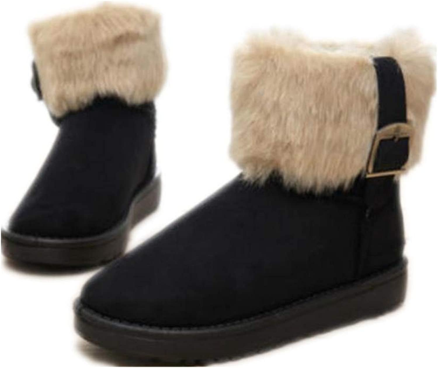 YUBUKE Womens Winter Snow Boots Round Toe Suede Faux Fur Warm Ankle Booties