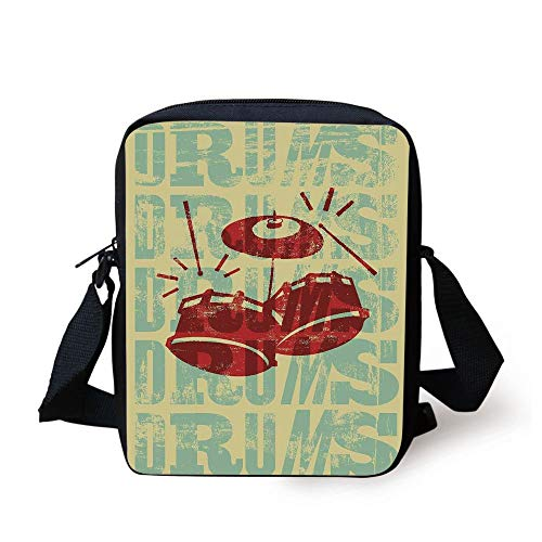 Vintage Decor,Groovy Drumming Poster Design Percussion Rock Music Instrument Play Vibe Hit,Red Yellow Print Kids Crossbody Messenger Bag Purse