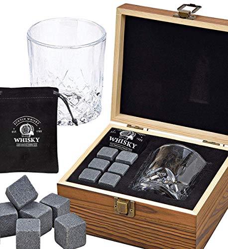LordsFinest Whiskyglas, 6 whiskystenen, cadeau-houten doos, zakje - herbruikbare basalt whiskystenen in plaats van ijsblokjes