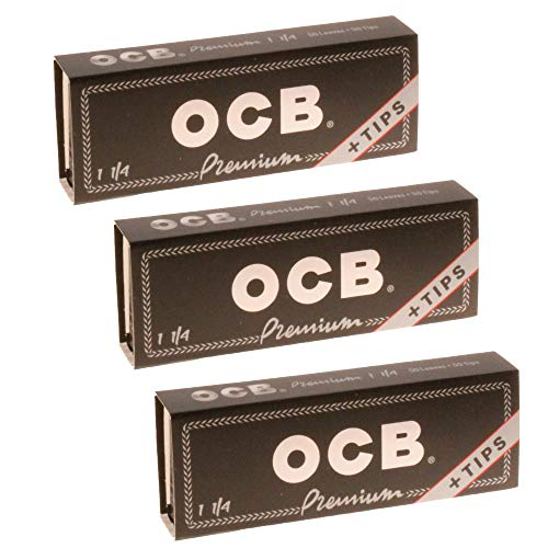 OCB Premium 1 1/4 Rolling Paper & Tips - 3 Packs - 50 Papers/Tips Each