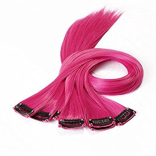 Frcolor Haarverlängerung Clips Fashion farbige Perücke Klipp für Haarteile Dekor 10pcs (Rose rot)