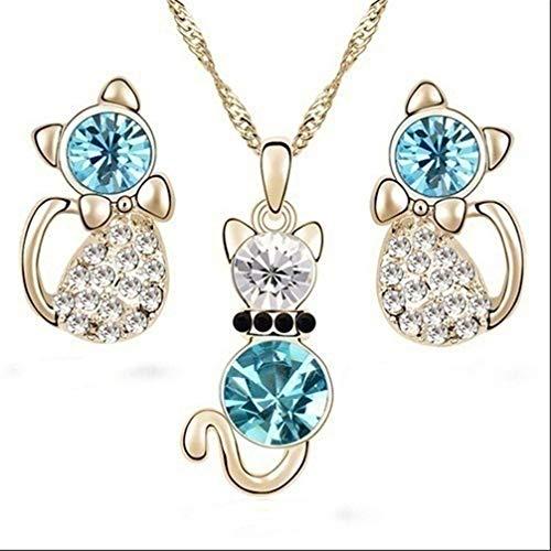 Ogquaton Collier de chat mignon bijoux boucle d'oreille pour les femmes et les hommes mis couleur...