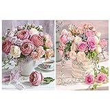 Heyu-Lotus Kit de 2 piezas pintura diamante para hacer tú mismo, diseño rosas cristal, bordado, punto cruz, decoración del hogar, artesanía adultos, niños, principiantes (30 x 40 cm)