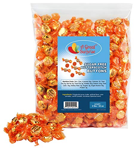 Sugar Free Butterscotch Hard Candy - Bulk SUGAR FREE Candy - Individually Wrapped Candy - Yellow Candy - Butterscotch Discs Buttons - 2 Pounds