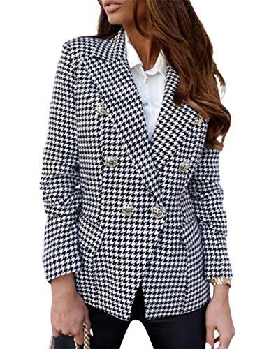 N/AA Damen-Blazer, kariert, Herbst und Winter, langärmelig, taillierter Kragen, Seitentasche, Anzugjacke Gr. XX-Large, schwarz / weiß