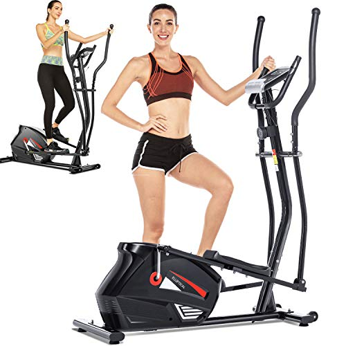 FUNMILY Eliptical Exercise Machine,Elliptical Cross Trainer for Home Use,Heavy-Duty Gym Equipment for Indoor Workout & Fitness with 10-Level Resistance&Max User Weight:390lbs