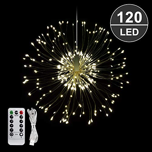 Starburst Lights 120 LED Firework Lights Copper Wire String Lights 8 Modes Battery Operated Fairy Lights with Remote,Wedding Decorative Hanging Lights for Party Patio Garden Decoration (Warm White)