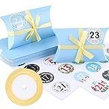 Caja de almohada Caja de regalo, 24 cajas de boda vintage de papel kraft de 13x8.8cm, cajas de galletas con cintas doradas y pegatinas digitales para chocolates, dulces, joyas y pequeños regalos(Azul)