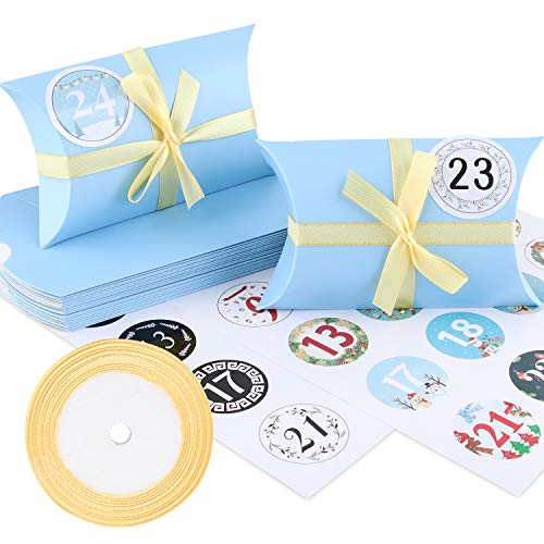 Adventskalender zum Befüllen, 24 Tüten Adventskalender Hochwertiges Kraftpapier, Advent Kalender Handwerk Geschenkbox Weihnachtsbox 13x8,8cm, Inklusive Goldgurt 22m, Digitale Aufkleber (Blau)
