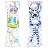vucosfly Loli Chino Kafuu - is The Order a Rabbit? Anime Body Pillowcase Japanese Textile & Smooth Knit 150 x 50cm(59in x 19.6in) Throw Pillow Case Fans Gift