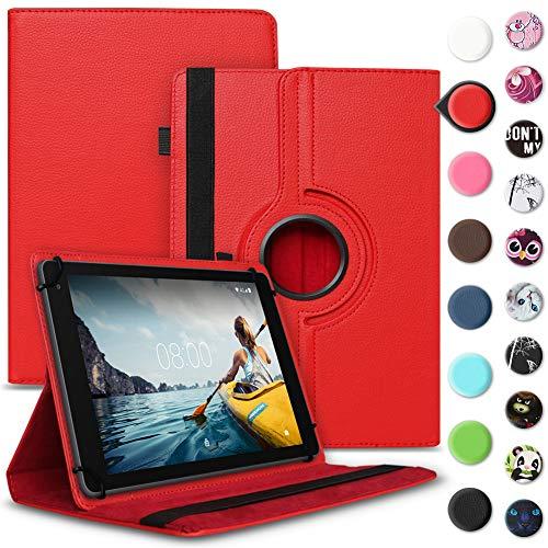 Tablet Hülle kompatibel für Medion Lifetab E6912 Tasche Schutzhülle Hülle Cover aus Kunstleder Standfunktion 360° Drehbar, Farben:Rot