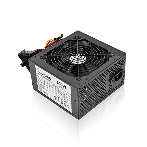 L-Link LL-PS-500-CAB - Fuente de alimentación ATX (500W) color negro y blanco
