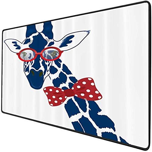 Mouse Pad Gaming Functional Giraffe Wildlife Animal von Thick Waterproof Desktop Mouse Mat Fun Skurrile lustige Giraffe mit Hipster-Sonnenbrille und Fliege, dunkelbraun-weiße rutschfeste Gummibasis