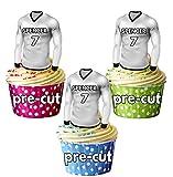 PRECUTA - Camisas de fútbol comestibles personalizables con su nombre de gallina y número – adornos para cupcakes/decoraciones para tartas de Real Madrid (paquete de 12)