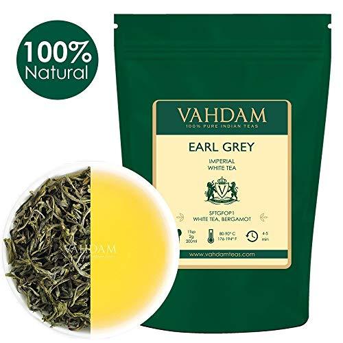 VAHDAM, Earl Grey hoja de té blanca imperial, 50 gramos (25 tazas)   TÉ SALUDABLE, Hojas de té blanco 100% NATURAL   ANTIOXIDANTES PODEROSOS   Earl Grey de hojas sueltas