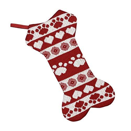 BETOY Medias Navideñas para Perros, Calcetines Navideños Grandes con Diseño de Hueso de Perro, Calcetines Navideños Bolsas de Regalo para Colgar, Adornos Navideños para Chimenea, Árbol de Navidad