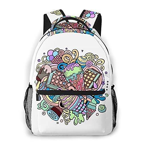 Yaxinduobao Ice Cream Mochila de viaje Unisex Travel Backpack Laptop Bag Computer Bag Work Backpack Gym Sports Bag 11.5x16 In