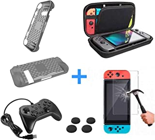 Combo Case Bag Bolsa + Película Vidro + 4 Grips + Capa Silicone + Controle USB Nintendo Switch