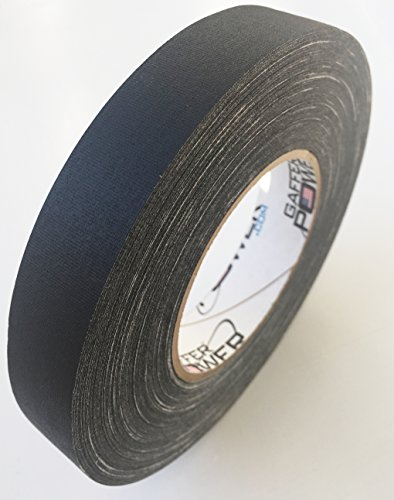 Professional Premium Grade Gaffer Tape - Black 1 in x 60 Yds - Heavy Duty Pro Gaff Tape - Secures Cables, Holds Down Wires Leaves No Sticky Residue Easy to Tear, Multipurpose, Better Than Duct Tape