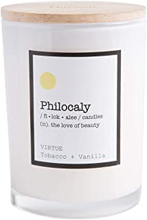 Philocaly Scented Candle, Virtue, Tobacco + Vanilla, 9.5oz, Soy Wax