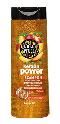 Lashuma Haarwäsche Tutti Frutti Pfirsich, Keratin Shampoo 400 ml, Glättet - Reinigt - Glanz - Leichtigkeit und Kämmbarkeit