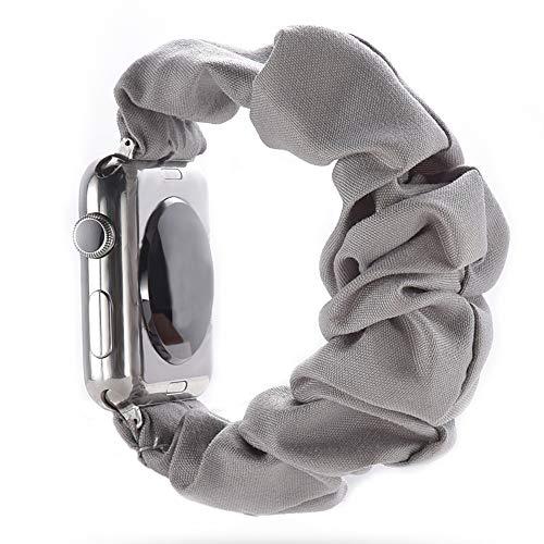 juanxian Scrunchie - Correa elástica de repuesto para Apple Watch, suave y elástica, compatible con iWatch Series 1-5 (38 mm/40 mm, 42 mm/44 mm) (gris, 38 mm/40 mm)