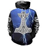 Serired Sudadera Viking 3D con capucha para hombre, unisex, mitología nórdica, martillo de Thor, Fenrir impreso, tatuaje, manga larga, sudadera de moda, informal, azul, talla 3XL