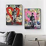 WQHLSH Moderno Amor Graffiti Calle Arte Abstracto Lienzo Pintura Carteles e Impresiones Cuadros Perro Banksy Pop Wall Art Imagen decoración del hogar 20x28inchx2 Sin Marco