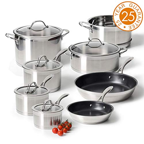 ProCook Professional Steel - Batterie Set Casseroles Poêle & Marmite 8pcs - INOX 18/10 Induction - avec Couvercles Verre Trempé - Poignées Ergonomiques INOX Isolant - Série 8 Pièces