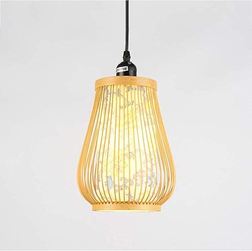 FTLY L'art du bambou de style japonais est une petite lampe suspendue au bambou simple, une suspension lumineuse personnalisée, un abat-jour d'impression, un lustre, un couloir, un balcon, un restaura