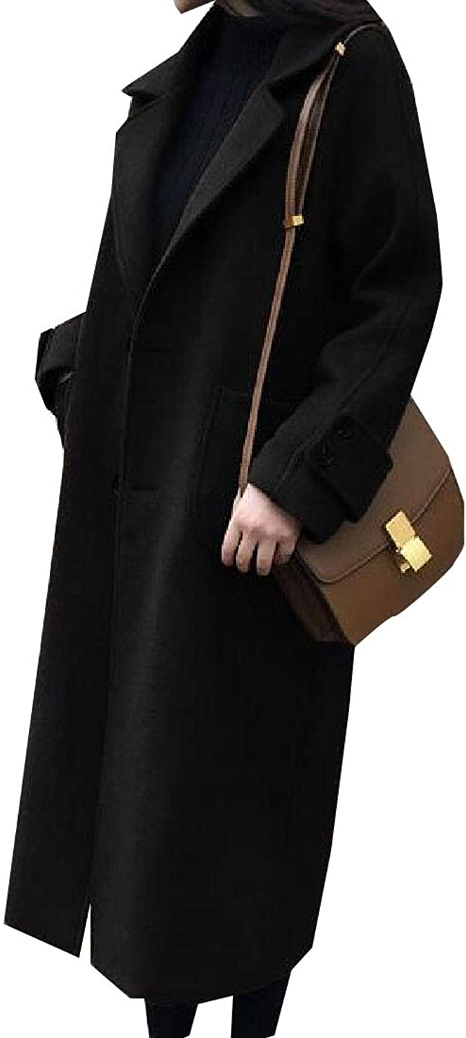 Maweisong Women's Classic Mid Length LongSleeve Wool Lapel Trench