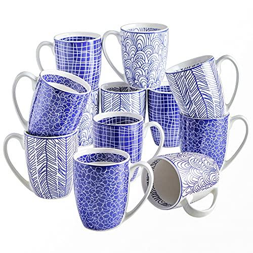 vancasso serie Takaki Tazas de Porcelana 12 piezas Mugs set Tazas de Desayuno pintadas a mano de Estilo Japonés Tazas de Cafe/ Té 300ml Regalos Creativos Color Azul y Blanco